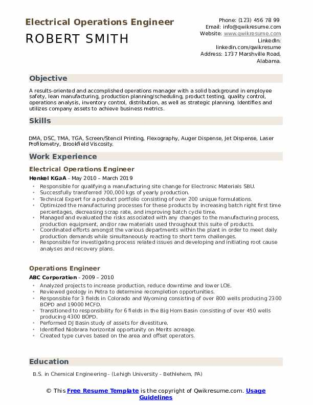 Electrical Operations Engineer Resume Example