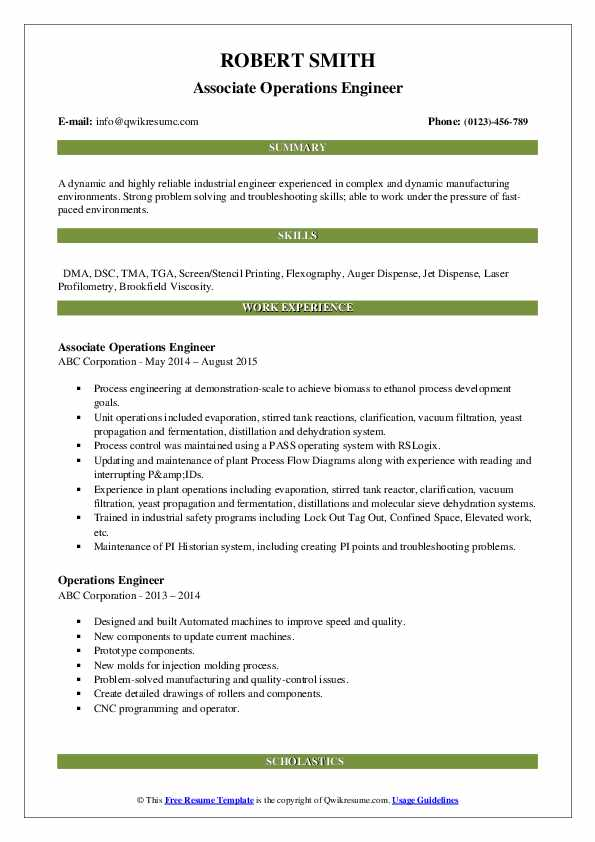 Associate Operations Engineer Resume Sample