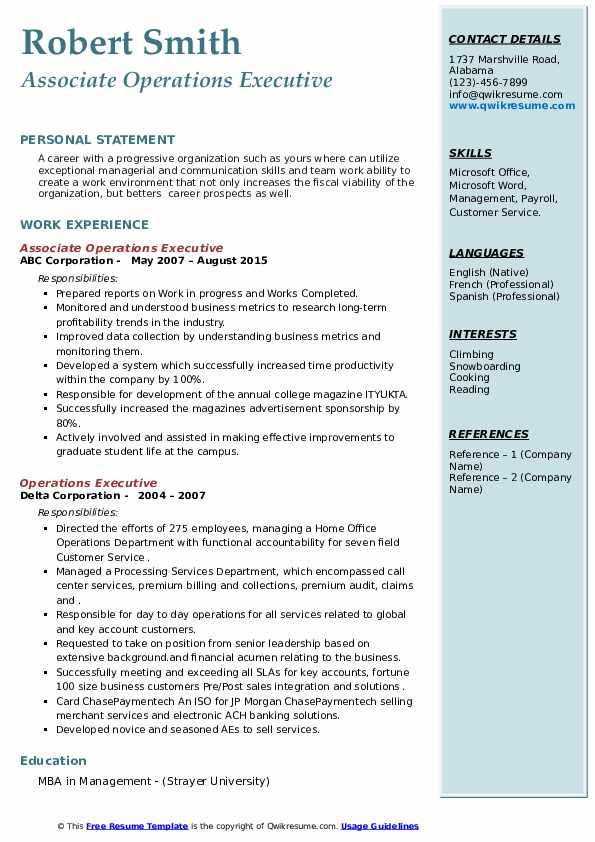operations executive resume samples  qwikresume