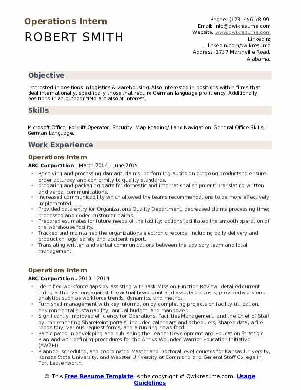 Operations Intern Resume Template