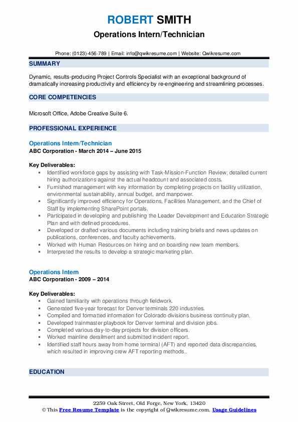 Operations Intern/Technician Resume Example
