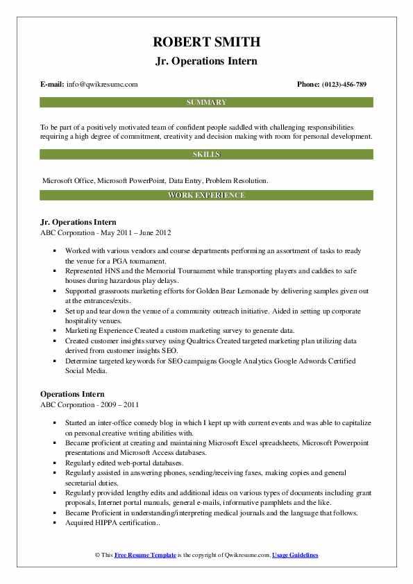 Jr. Operations Intern Resume Model