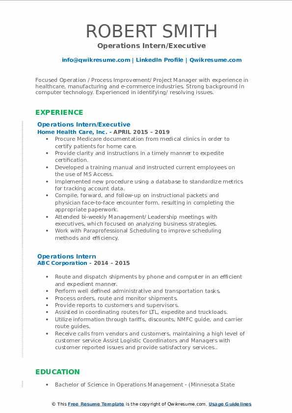 Operations Intern/Executive Resume Example