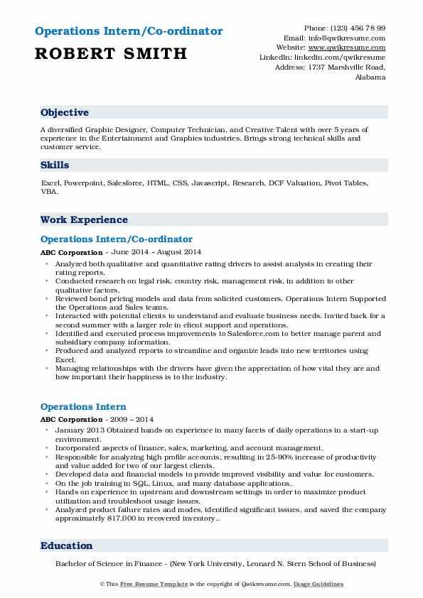 Operations Intern/Co-ordinator Resume Format