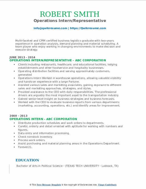 Operations Intern/Representative Resume Model