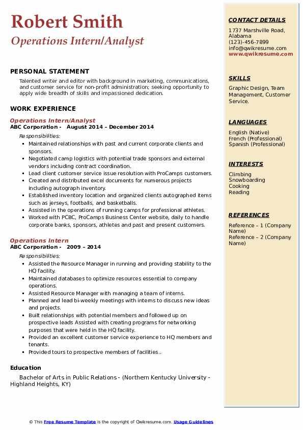 Operations Intern/Analyst Resume Example