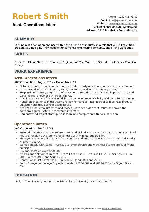 Asst. Operations Intern Resume Model