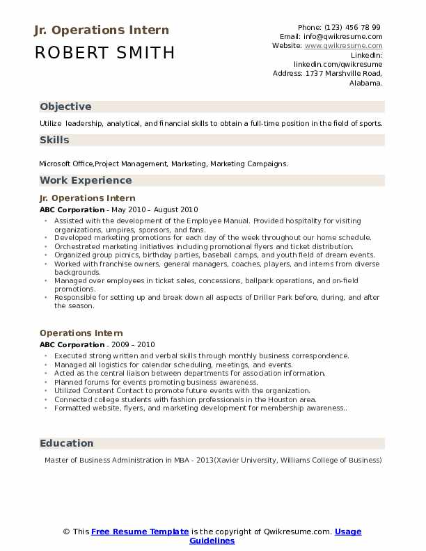 Jr. Operations Intern Resume Template