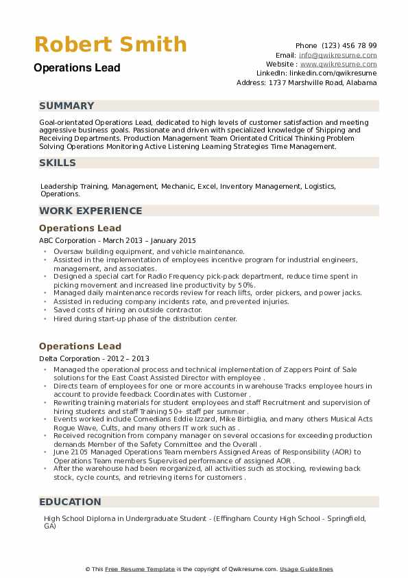 Operations Lead Resume example