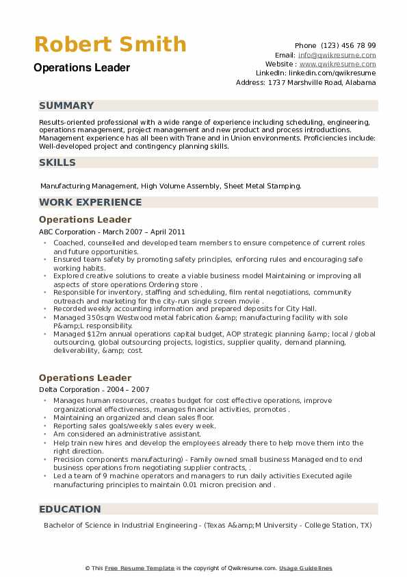 Operations Leader Resume example