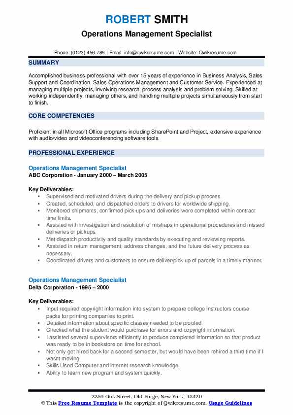 Operations Management Specialist Resume example