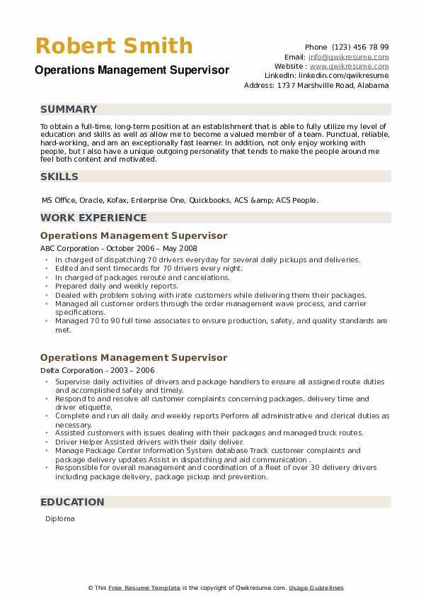 Operations Management Supervisor Resume example