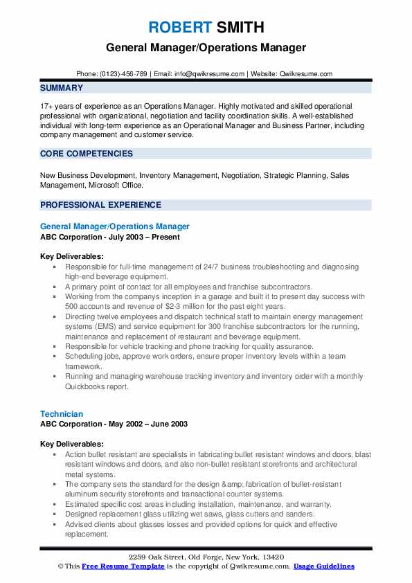 General Manager/Operations Manager Resume Template