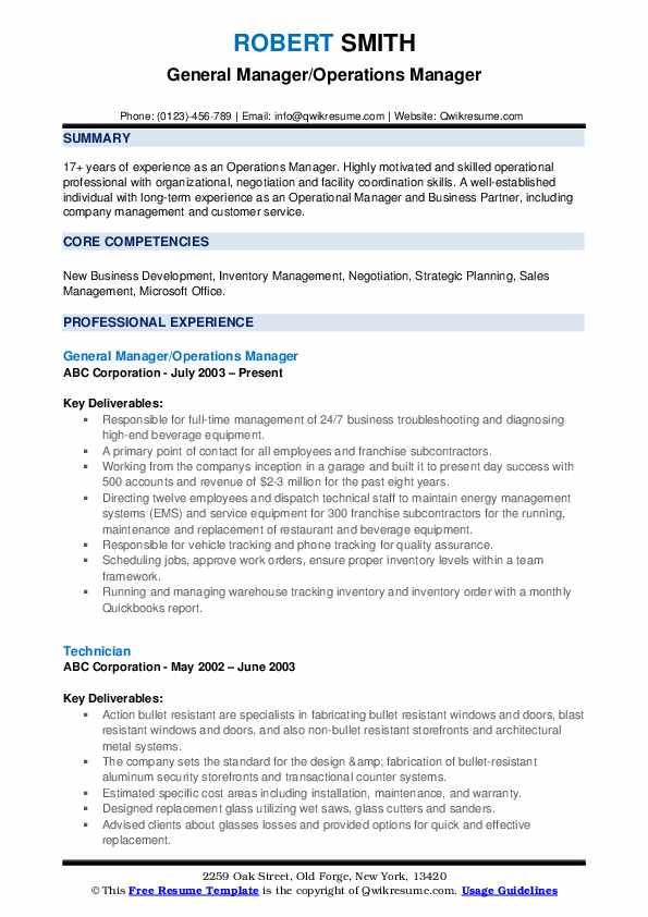 Operations Manager Resume Samples | QwikResume