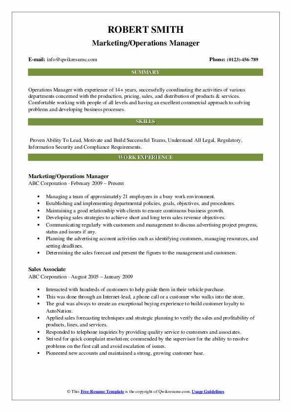 Marketing/Operations Manager Resume Sample