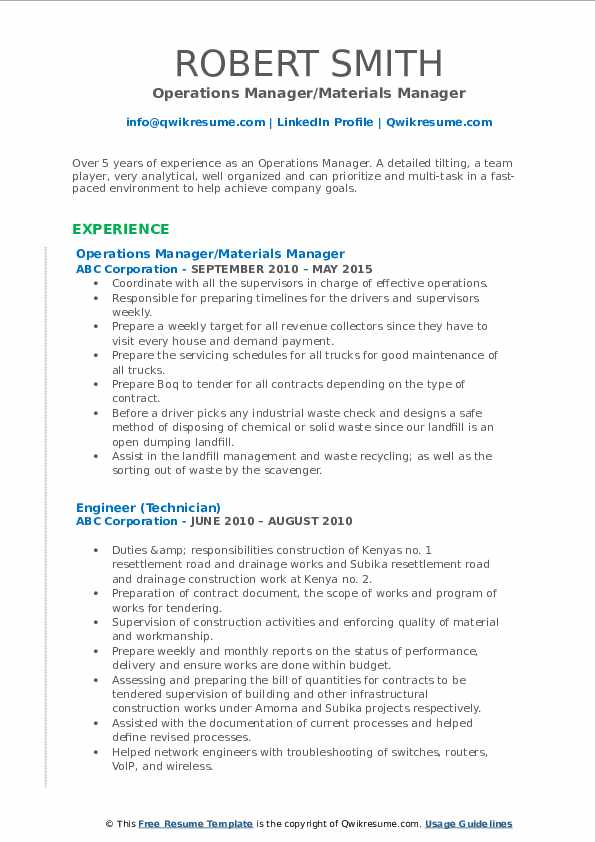 Operations Manager Resume Samples Qwikresume