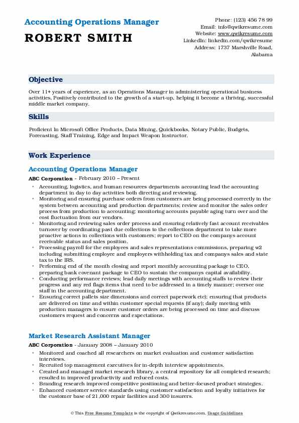 Accounting Operations Manager Resume Sample
