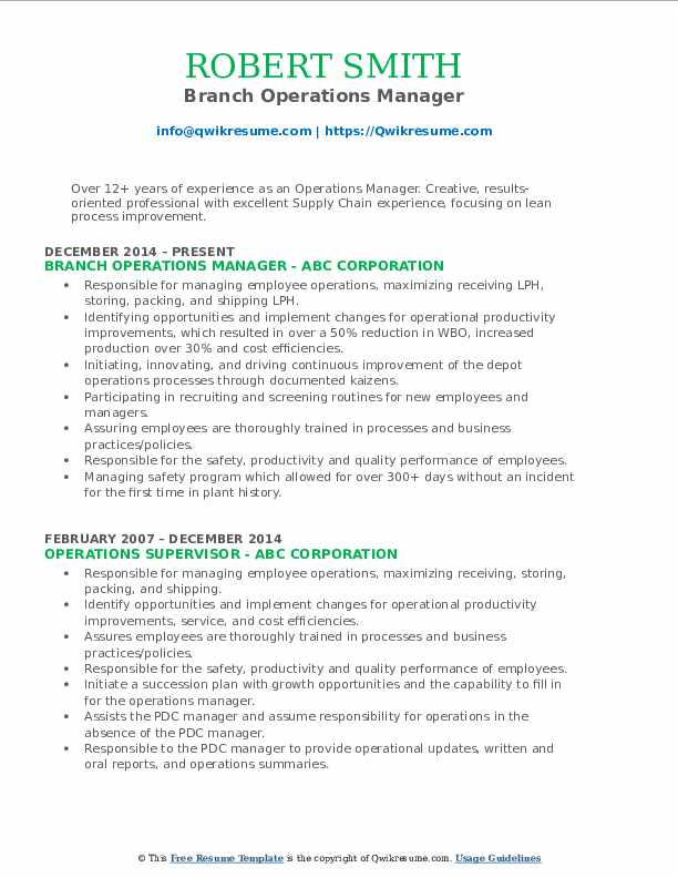 Branch Operations Manager Resume Example