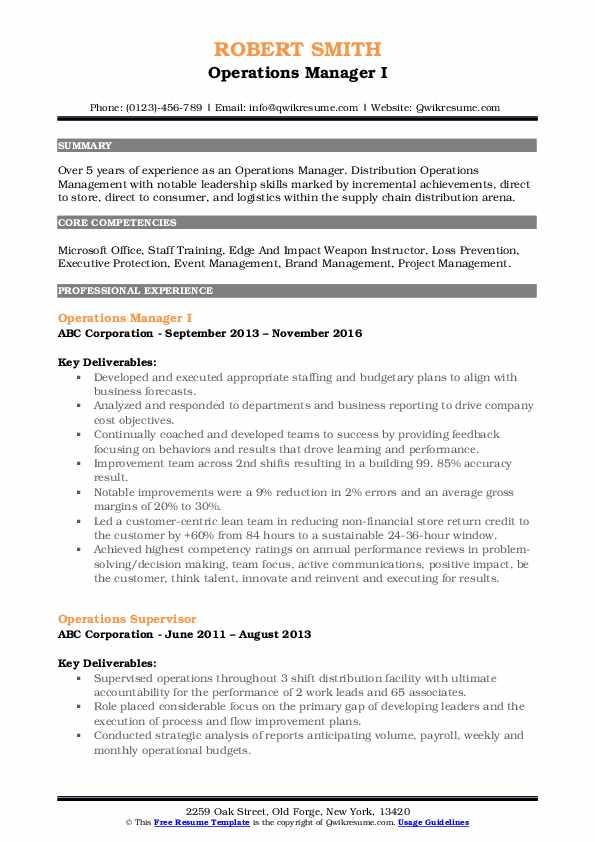 Operations Manager I Resume Sample