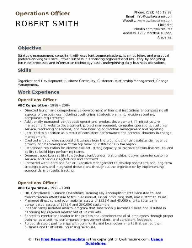 Operations Officer Resume Sample