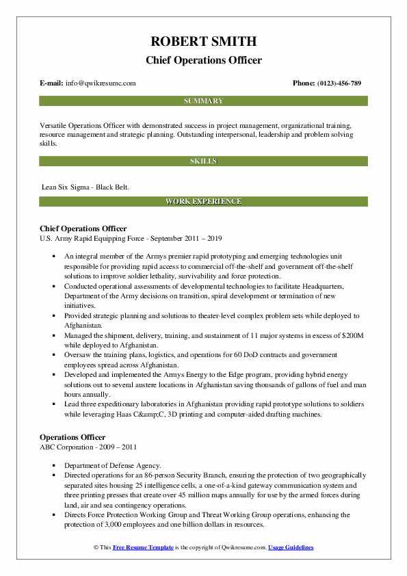 Chief Operations Officer Resume Sample