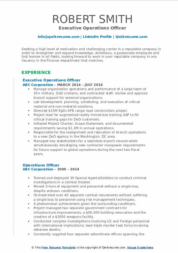 Executive Operations Officer Resume Format