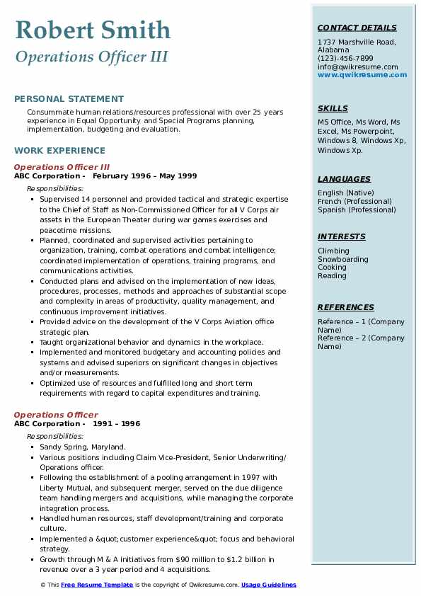 Operations Officer III Resume Template