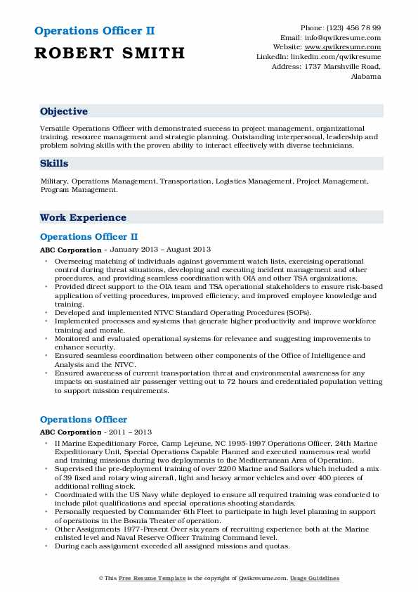 Operations Officer II Resume Format