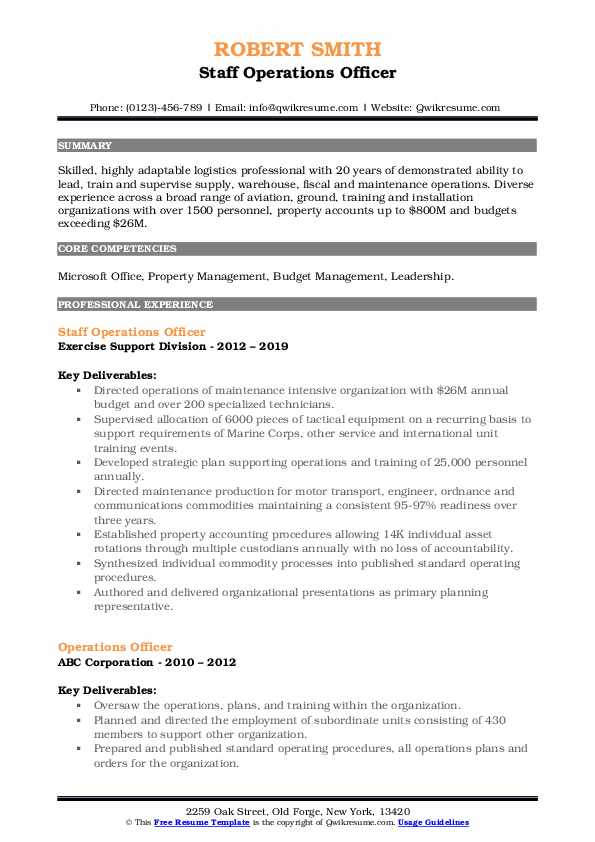 Staff Operations Officer Resume Example