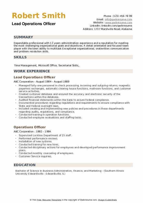 Lead Operations Officer Resume Template