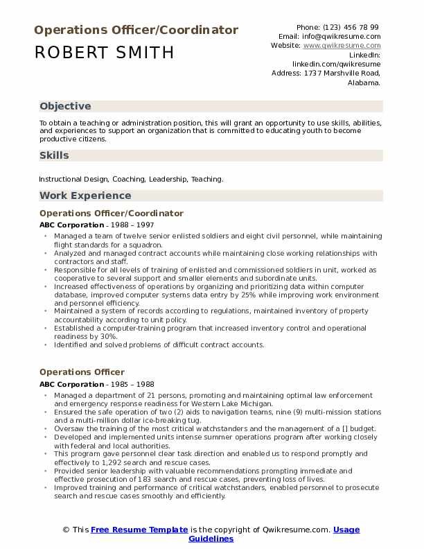 Operations Officer/Coordinator Resume Sample
