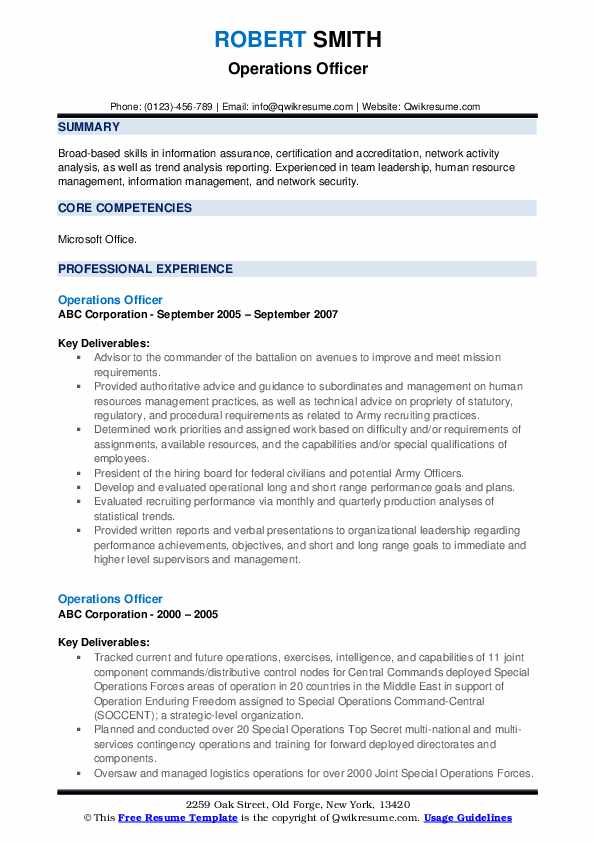 Operations Officer Resume example