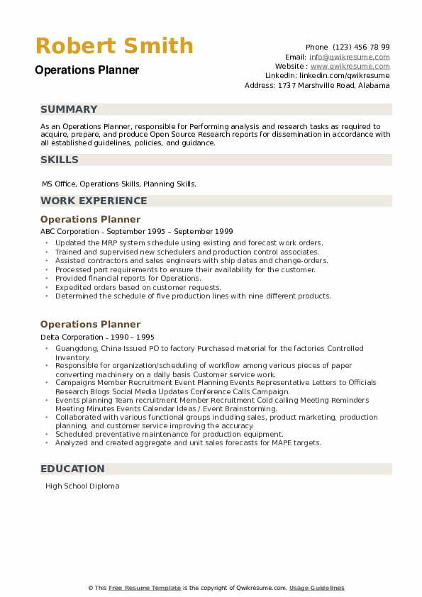 Operations Planner Resume example