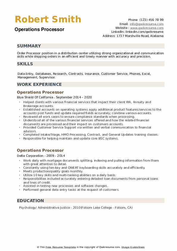Operations Processor Resume example