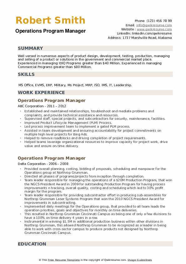 Operations Program Manager Resume example