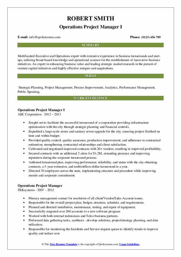 operations project manager resume samples