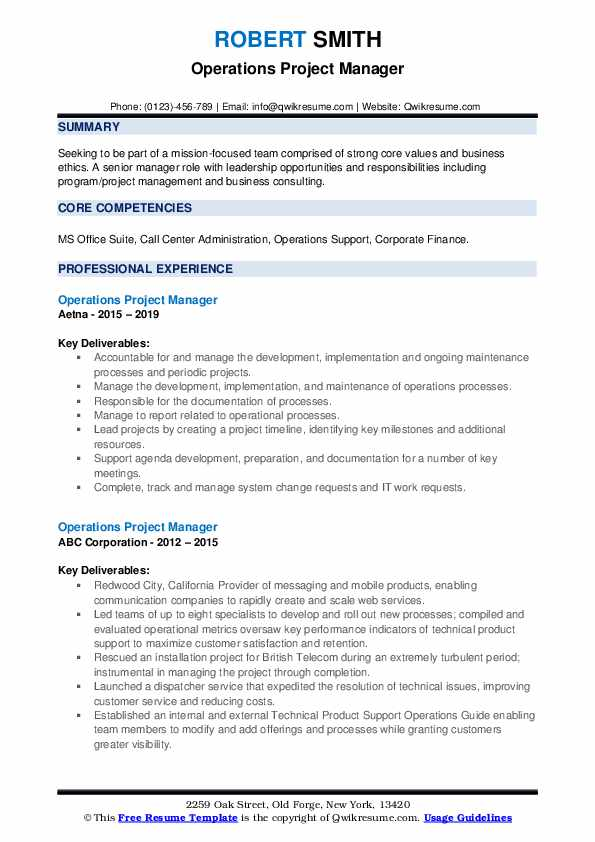 Operations Project Manager Resume example