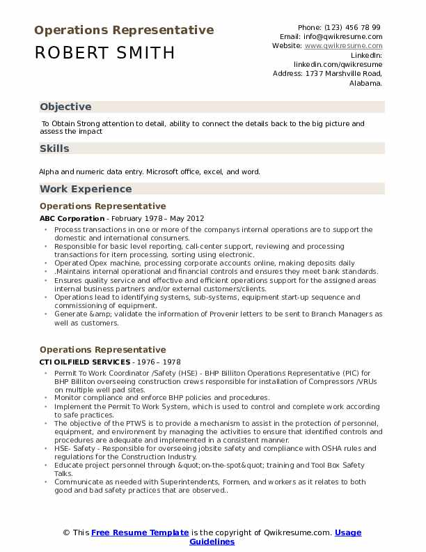 Operations Representative Resume Model