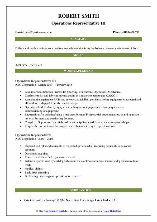 Operations Representative III Resume Template