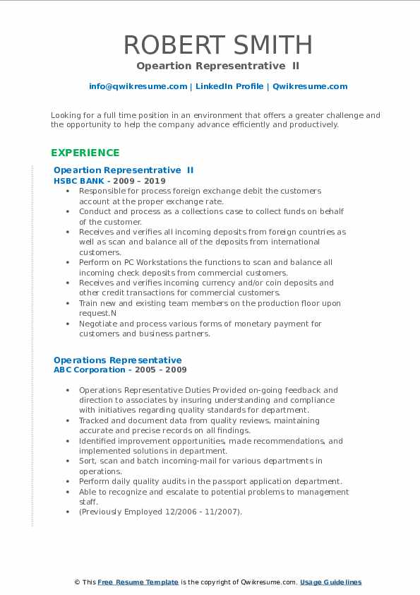 Opeartion Representrative  II Resume Template