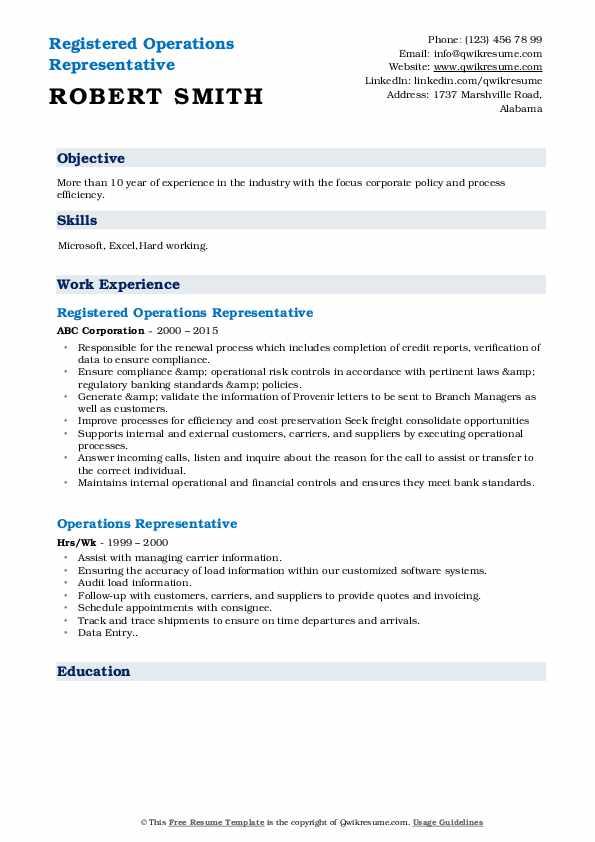 Registered Operations Representative Resume Format