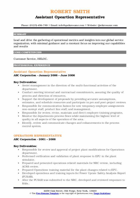 Assistant Opeartion Representative Resume Template