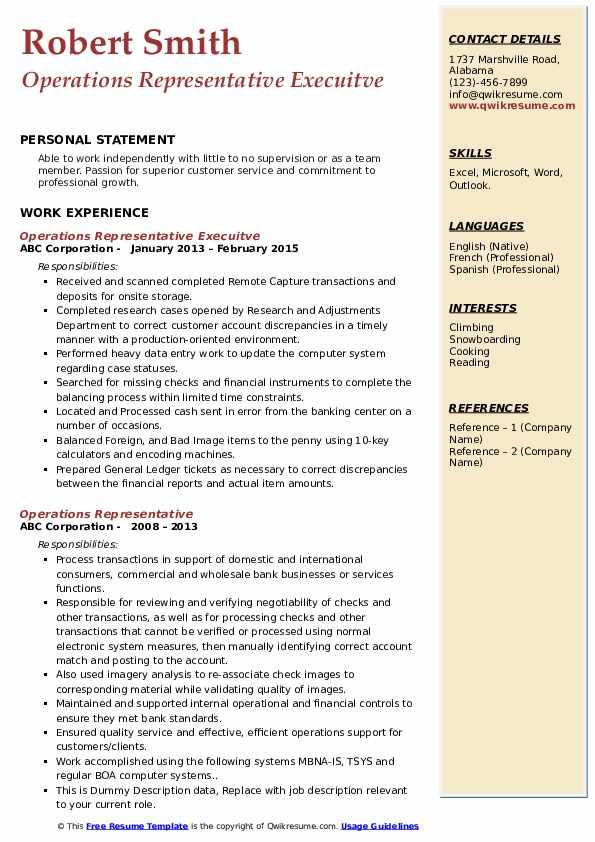Operations Representative Execuitve Resume Template