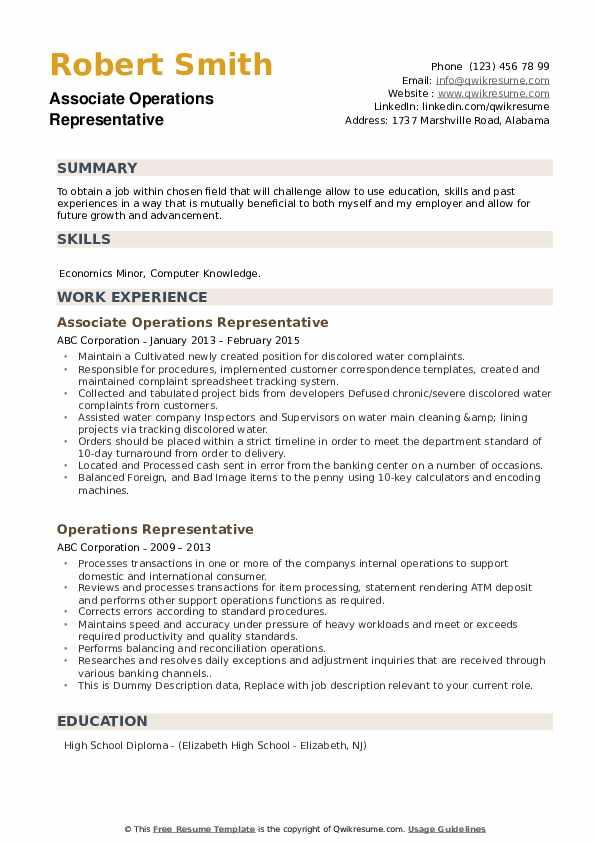 Associate Operations Representative Resume Format