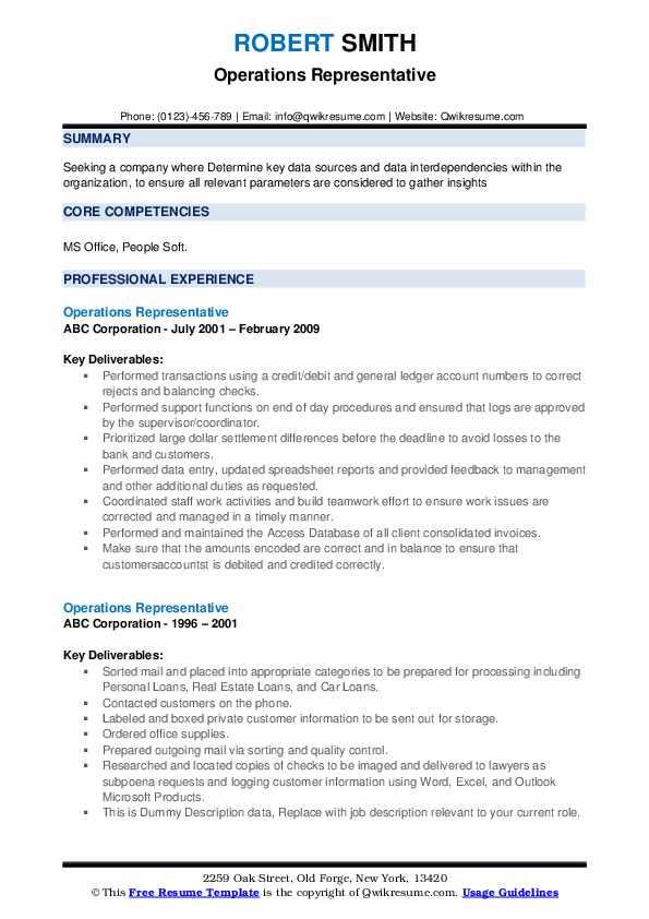 Operations Representative Resume example