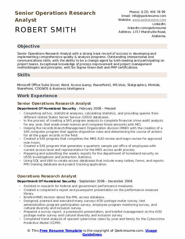 Senior Operations Research Analyst Resume Model
