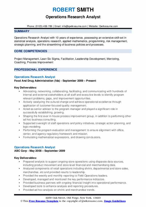Operations Research Analyst Resume Model