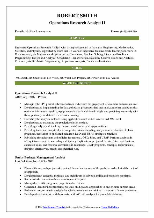 Operations Research Analyst II Resume Example