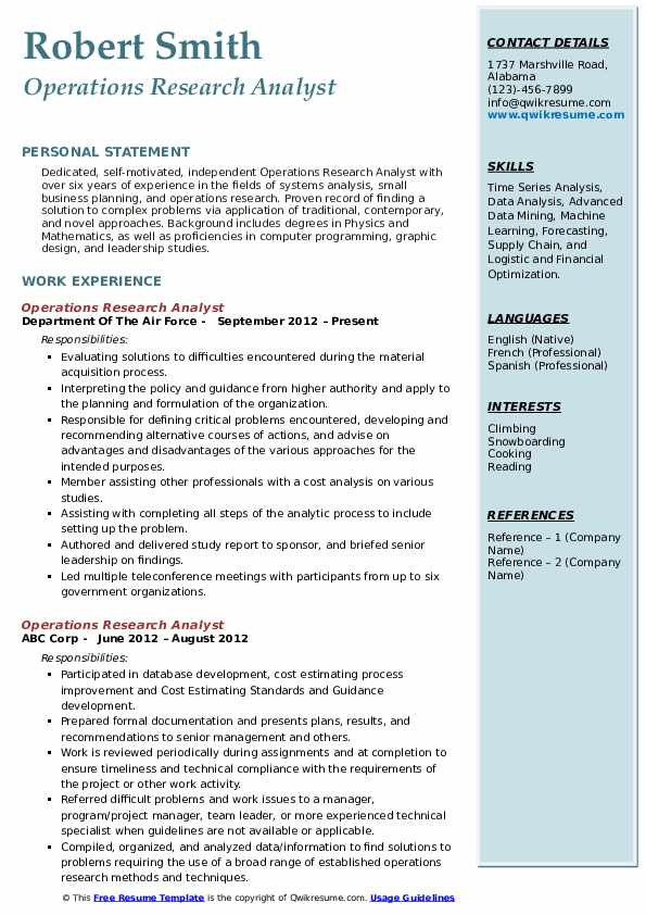 Operations Research Analyst Resume Format