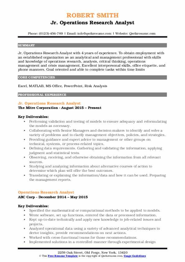 Jr. Operations Research Analyst Resume Template